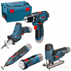 Набор аккумуляторного инструмента Bosch из 5 (GSR 10.8-2-Li, GSA 10,8 V-LI, GLI 10,8 V-LI, GST 10,8 V-L,GRO 10,8 V-LI ) 0.615.990.G0D